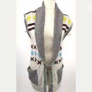 Free People Sweater Vest Sleeveless Long Tribal